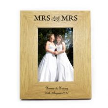 6x4 Mrs & Mrs Wooden Photo Frame